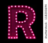 letter r with neon lights... | Shutterstock . vector #118203694
