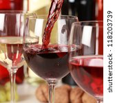 fresh red wine pouring into a... | Shutterstock . vector #118203739