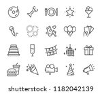 set of celebration line icon ... | Shutterstock .eps vector #1182042139