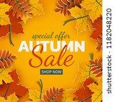 autumn sale banner  3d paper... | Shutterstock .eps vector #1182048220
