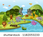 animals in waterfall scene... | Shutterstock .eps vector #1182053233