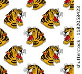 tiger illustration traditional... | Shutterstock .eps vector #1182058423
