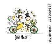 wedding card design. bride and... | Shutterstock .eps vector #1182069559
