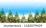 christmas fir tree winter... | Shutterstock .eps vector #1182079429
