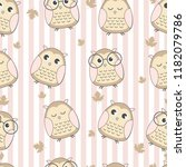 Stock vector seamless pattern cute owl with leaf 1182079786