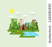 recreation outside city. summer ... | Shutterstock .eps vector #1182081850