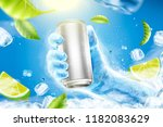 refreshing drink ads with ice... | Shutterstock .eps vector #1182083629