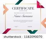 certificate template with... | Shutterstock .eps vector #1182090070