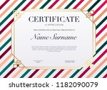 certificate template with... | Shutterstock .eps vector #1182090079