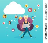 social network and teamwork... | Shutterstock .eps vector #1182090100