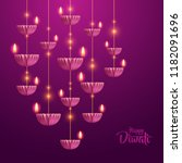 happy diwali. hanging paper... | Shutterstock .eps vector #1182091696