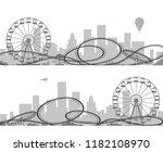 amusement park silhouettes.... | Shutterstock .eps vector #1182108970