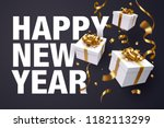 falling gift box  happy new... | Shutterstock .eps vector #1182113299