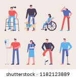 people injured in various cases.... | Shutterstock .eps vector #1182123889