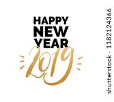 happy new year 2019  hand... | Shutterstock .eps vector #1182124366