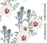 trendy floral pattern with pink ... | Shutterstock .eps vector #1182134140