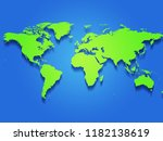 simple coloured map of the world | Shutterstock . vector #1182138619