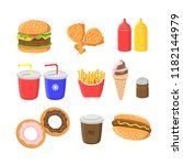 junkfood and fastfood vector... | Shutterstock .eps vector #1182144979