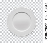 empty white round plate on... | Shutterstock .eps vector #1182158830