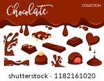 chocolate dripping splash drops ... | Shutterstock .eps vector #1182161020