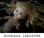 close up dirty baby doll blonde ... | Shutterstock . vector #1182161986