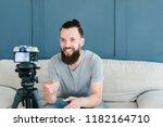 social media influencer... | Shutterstock . vector #1182164710