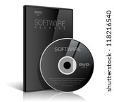 black realistic case for dvd or ... | Shutterstock .eps vector #118216540