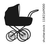 isolated flat black baby buggy  ...   Shutterstock .eps vector #1182169000