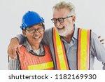 portrait of happy engineer and... | Shutterstock . vector #1182169930