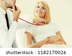 male doctor is talking and...   Shutterstock . vector #1182170026