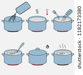 steps how to cook food....   Shutterstock . vector #1182173380