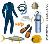 realistic snorkeling and scuba... | Shutterstock .eps vector #1182175723