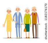 couple older people. two aged...   Shutterstock . vector #1182176170