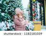 winter and christmas portrait...   Shutterstock . vector #1182181039