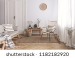 armchair on rug next to bench... | Shutterstock . vector #1182182920