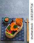 japanese style  lunch with ... | Shutterstock . vector #1182185716