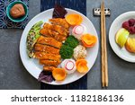 japanese style  lunch with... | Shutterstock . vector #1182186136
