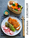 japanese style  lunch with ... | Shutterstock . vector #1182186139