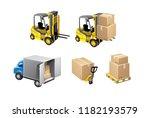 vector set of loading unloading ... | Shutterstock .eps vector #1182193579