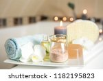 white ceramic tray with home... | Shutterstock . vector #1182195823