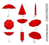 red umbrellas set. isolated on... | Shutterstock .eps vector #1182198253