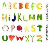 veggie english alphabet letters ... | Shutterstock .eps vector #1182198703