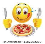 hungry smiling ball looking at... | Shutterstock .eps vector #1182202210