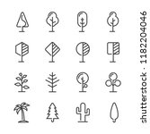 simple set trees line icon... | Shutterstock .eps vector #1182204046