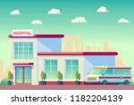 medical hospital building with...   Shutterstock .eps vector #1182204139