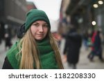 younge girl portrait on street... | Shutterstock . vector #1182208330