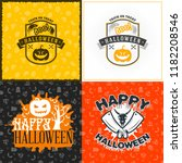 set of happy halloween greeting ... | Shutterstock .eps vector #1182208546