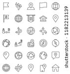 thin line vector icon set  ... | Shutterstock .eps vector #1182213139