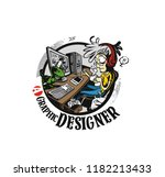 graphic designers working at... | Shutterstock .eps vector #1182213433