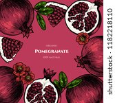 vector frame with pomegranate.... | Shutterstock .eps vector #1182218110